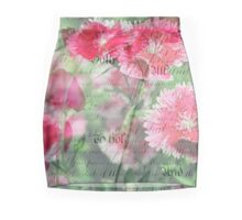 Pink Flower Antique Collage Mini Skirt
