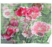 Pink Flower Antique Collage Poster