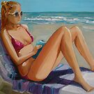Julia ..... reading.... relaxing...... on the Beach by nancy salamouny