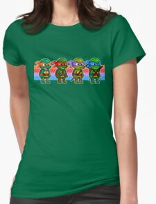 Teenage Mutant Ninja Turtles TMNT Pixel Stripes Womens Fitted T-Shirt