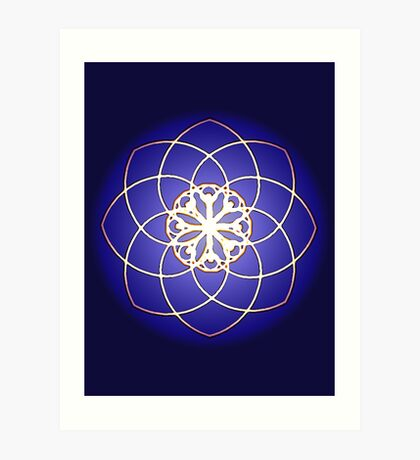 Many hearts - Gold Phi Spiral Art Print