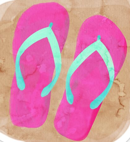 Flip Flops in the Sand - watercolor Sticker