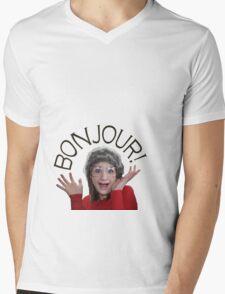 """Mary """"Bonjour!"""" Mens V-Neck T-Shirt"""