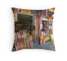 Shop specialising in supplies for Buddhist worshippers, Beijing, China Throw Pillow