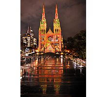 St Marys Cathedral light Show June 2010 Photographic Print
