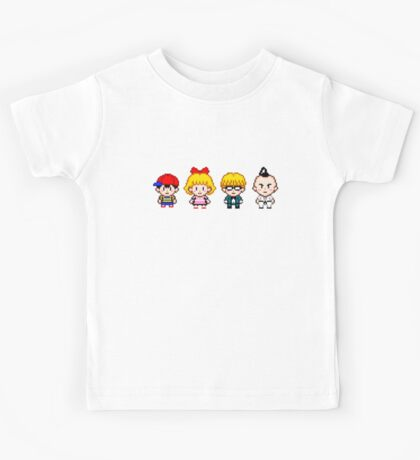 Earthbound Pixels - Ness, Paula, Jeff & Poo Kids Tee