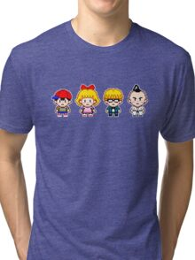 Earthbound Pixels - Ness, Paula, Jeff & Poo Tri-blend T-Shirt