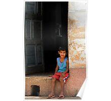 Cuban boy sitting on door step, Trinidad, Cuba Poster