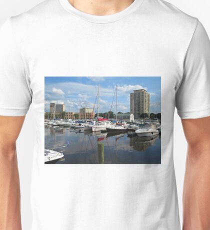 A Peaceful, Picturesque Afternoon at the Marina Unisex T-Shirt