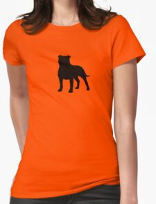 Staffordshire Bull Terrier Silhouette Womens Fitted T-Shirt