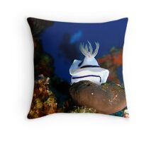 Nudibranch with Diver - Cuyo Island Philippines Throw Pillow