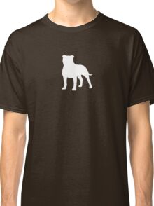 Staffordshire Bull Terrier Silhouette (White) Classic T-Shirt