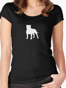 Staffordshire Bull Terrier Silhouette (White) Women's Fitted Scoop T-Shirt