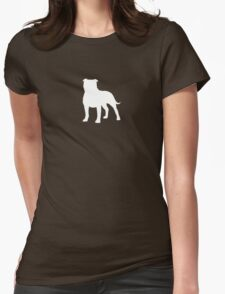 Staffordshire Bull Terrier Silhouette (White) Womens Fitted T-Shirt
