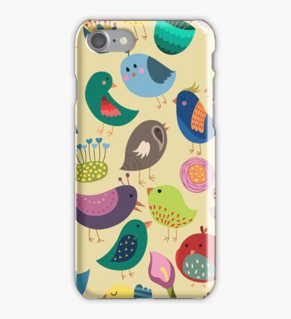 Cute Vintage Birds Seamless Pattern iPhone Case/Skin