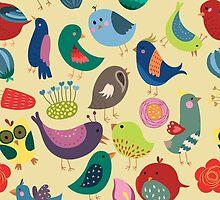 Cute Vintage Birds Seamless Pattern by kennasato