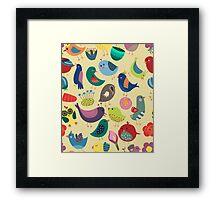 Cute Vintage Birds Seamless Pattern Framed Print