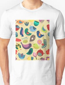 Cute Vintage Birds Seamless Pattern Unisex T-Shirt