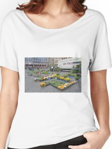 Preparing for the street market, Brussels, Belgium Women's Relaxed Fit T-Shirt