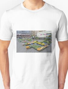 Preparing for the street market, Brussels, Belgium T-Shirt