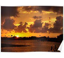 Blazing bronze sunset Poster