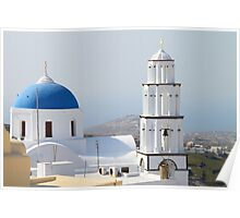Church and Bell Tower, Pyrgos, Santorini Poster