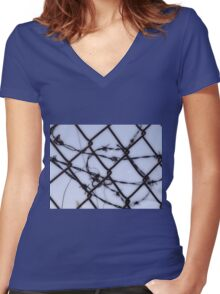 Protect Your Barbed Wire Women's Fitted V-Neck T-Shirt