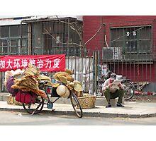The brush-seller takes a break, Beijing, China Photographic Print