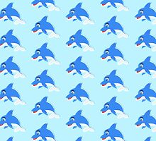 Blue White Dolphin Design by biglnet
