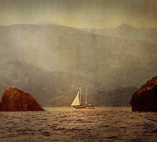 Textured Sailing In The Mediterranean Rocks by Josh Wentz