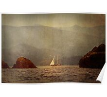 Textured Sailing In The Mediterranean Rocks Poster