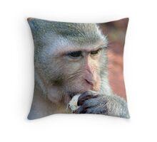 Wild monkey feeding 1 Throw Pillow