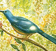 Earthy blue white Squire bird by Thecla Correya