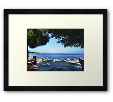 VIEW FROM MY BAR TABLE.THASSOS ,GREECE. Framed Print