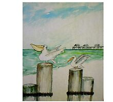 Two Guys Sea Gulls by watercolorhal