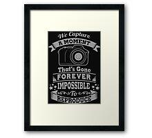 photography photographer t-shirt Framed Print