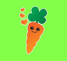 Cute kawaii orange carrot with cute hearts by jazzydevil