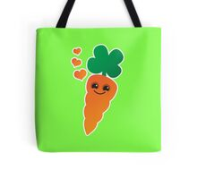 Cute kawaii orange carrot with cute hearts Tote Bag