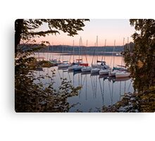 Amazing sunset in Solina Lake bay Canvas Print