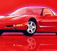 "97 ""Vette"" in Red by brianrolandart"