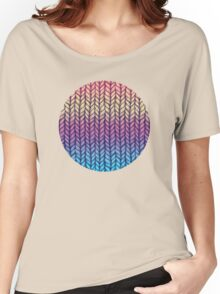 Rainbow Gradient Chunky Knit Pattern Women's Relaxed Fit T-Shirt