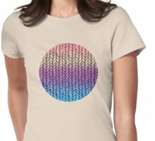 Rainbow Gradient Chunky Knit Pattern Womens Fitted T-Shirt
