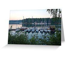 Amazing sunset in Solina Lake bay Greeting Card