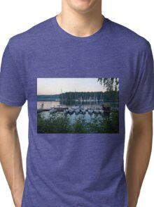 Amazing sunset in Solina Lake bay Tri-blend T-Shirt