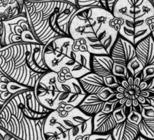 Shades of Grey - mono floral doodle Sticker