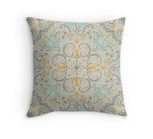 Gypsy Floral in Soft Neutrals, Grey & Yellow on Sage Throw Pillow