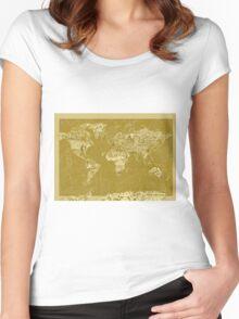 World Map landmarks 7 Women's Fitted Scoop T-Shirt