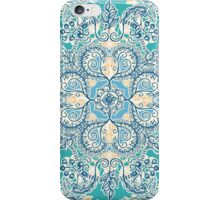 Gypsy Floral in Teal & Blue iPhone Case/Skin