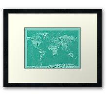 World Map landmarks 7 Framed Print