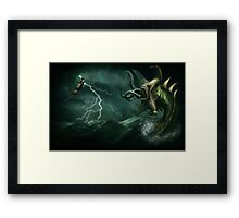 Beowulf vs the Jormungandr Framed Print